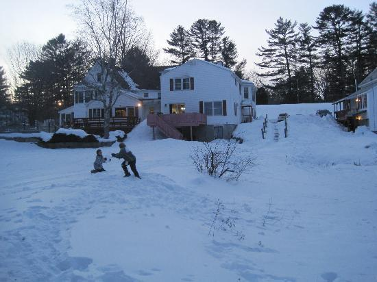 Cranmore Mountain Lodge Bed and Breakfast: A view of the back of the Lodge...my kids & dog playing in the snow