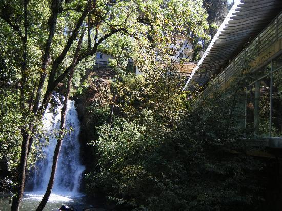 Mision Grand Valle de Bravo: Cascada y a la derecha restaurante del hotel