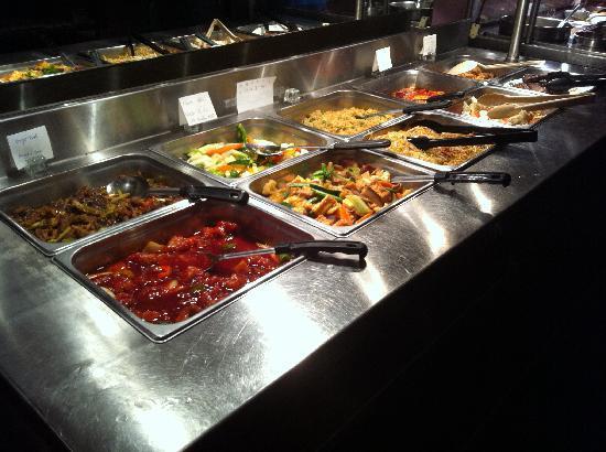 Golden Chopsticks: dinner buffet table