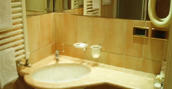Hotel Parco Borromeo: Tiny Funtional Bathroom