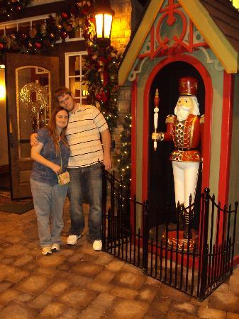 The Inn at Christmas Place: us outside of the hotel