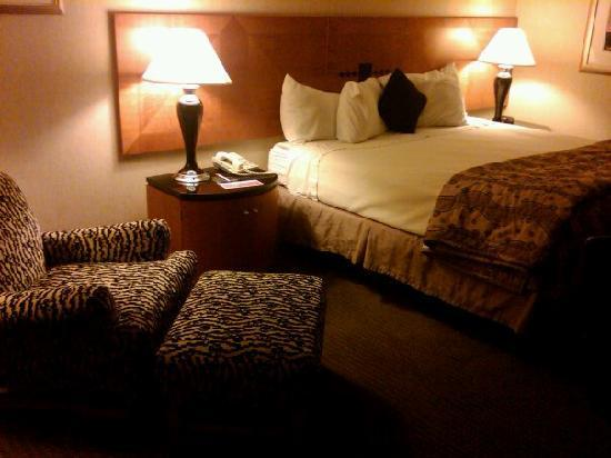 Ramada Harrisonburg: My king size bed and funky chair...GREAT to walk in to.