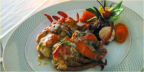 Restaurant Bouchard: Restuffed Roasted Lobster and Scallops with Truffle, Gruyere Cheese and Lobster Sauce