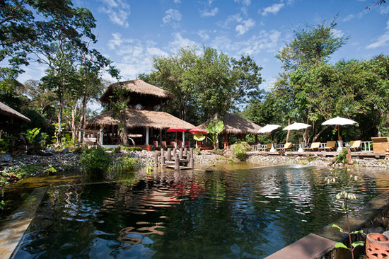 Ecologic Swimming Pool , Dining at  Room. Zen Namkhan Boutique Resort, Laos