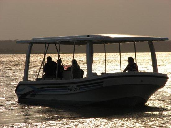 Covane Community Lodge: Game viewing boat on the Massingir Dam