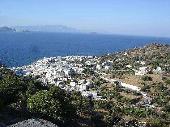 Dodekanesane, Hellas: view of mandraki from paleocastro