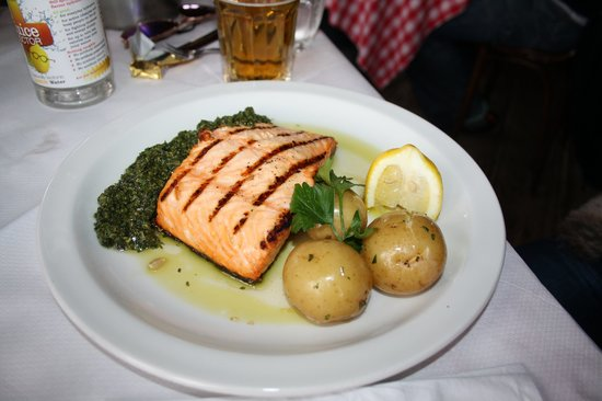 The Whitstable Oyster Company: Grilled salmon with new potatoes