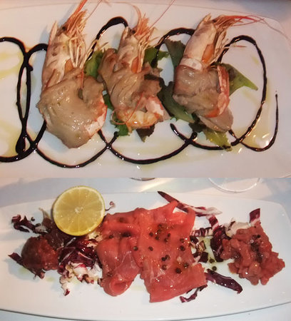 Moncalieri, Italia: Prawn wrapped in Tuna / 3 kinds of beef