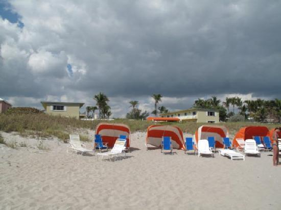 Delray Breakers on the Ocean: beach cabanas with hotel in background