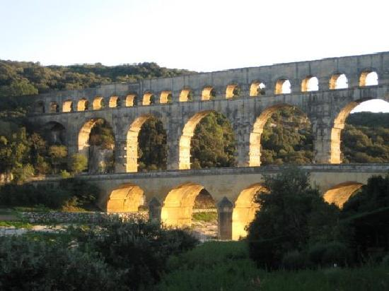 Pont du Gard at sunset