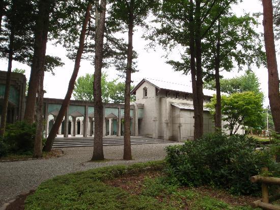 Hirafuku Memorial Art Museum: 木立の向こうに美術館