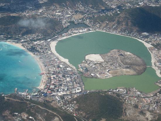 St Martin / St Maarten: Philipsburg, salt pond, and beach from the air