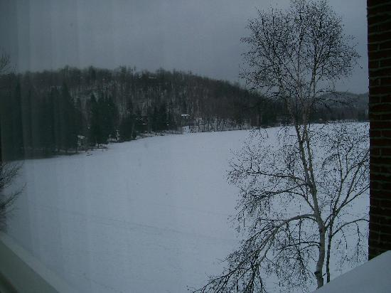 Auberge du Coq de Montagne: Winter view of the lake from my bedroom window
