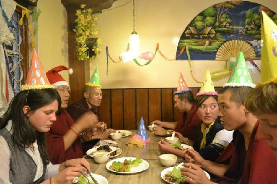 Lhasa Restaurant: Friends and Guest and Tibetan Monks Celebrating Christmas Eve