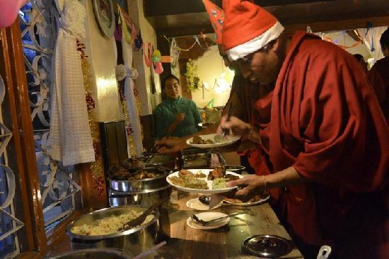 Lhasa Restaurant: Monks @ Dinner on Christmas Eve