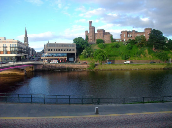 |Inverness Castle, as seen from table Riva Pizza Restuarant.