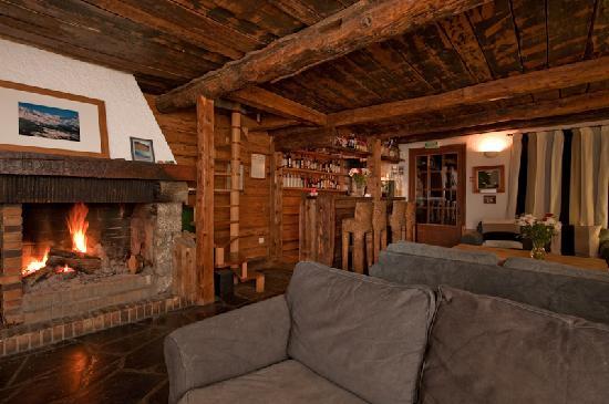 Auberge sur la Montagne: Our cosy bar/lounge with log fire