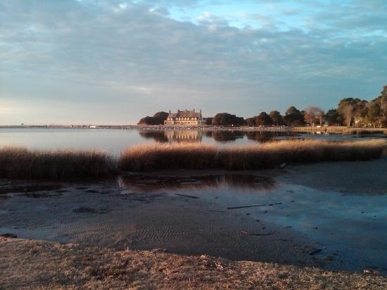 Corolla, NC: Sunset over the Whalehead Club, Feb., 2011