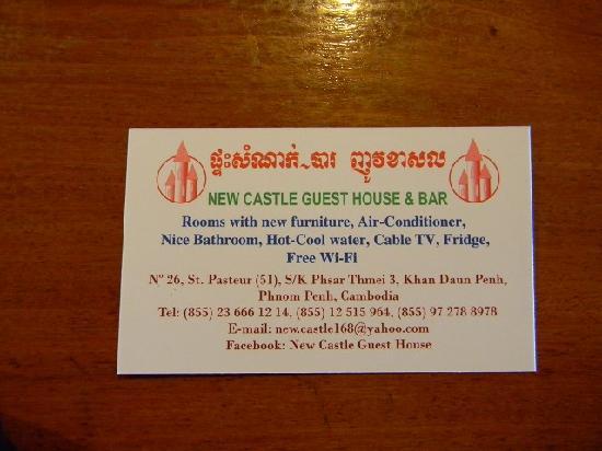 Visitenkarte Picture Of New Castle Guest House Phnom Penh