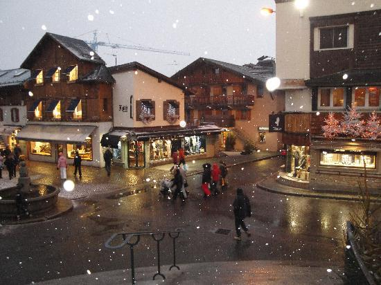 Megeve while snowing