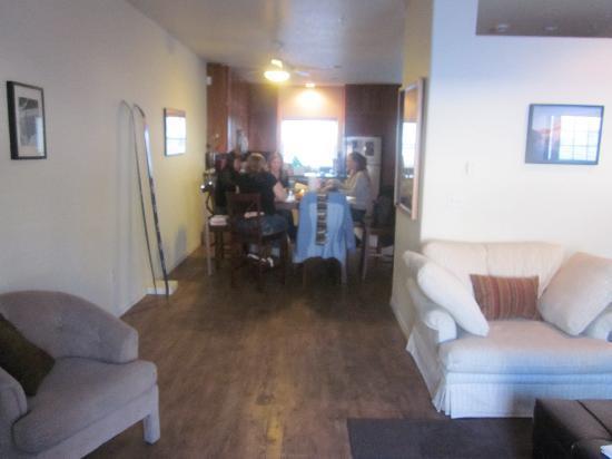Collins Lake Resort: living room to kitchen