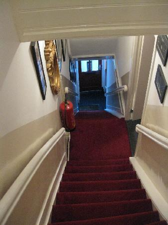 Boogaard's Bed and Breakfast: The typically steep stairway up to our room.