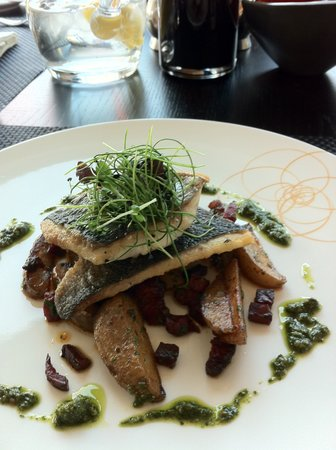 Spa Verta: Great food - Seared fillet of black bream, chorizo and salsa Verdi