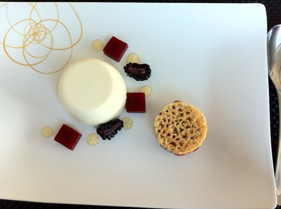 Spa Verta: Beautifully presented - Battersea honey panacotta, blackberry sherbet with blackberry and apple