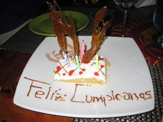 Red Mangrove Aventura Restaurant: My birthday dessert