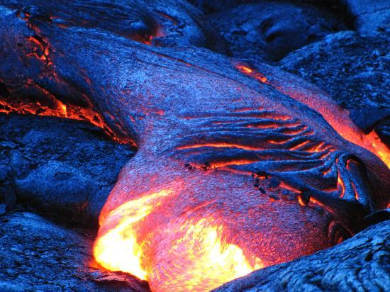 Volcano, HI: Lava flow after sunset