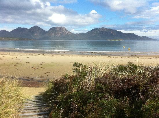Saffire Freycinet: view of the Hazards from hotel beach