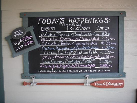 Disney's Hilton Head Island Resort: Daily activity board