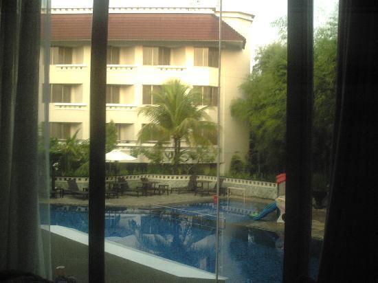 Hotel Santika Premiere Jogja: 部屋の中からプールを撮りました。