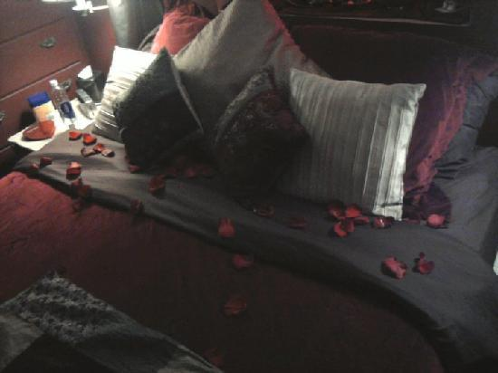 Lyons Twin Mansions: Housekeeping put rose petals on the bed while we were gone.