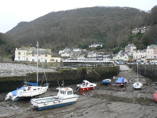 The Bath Hotel: Lynmouth harbour, with hotel on the far right