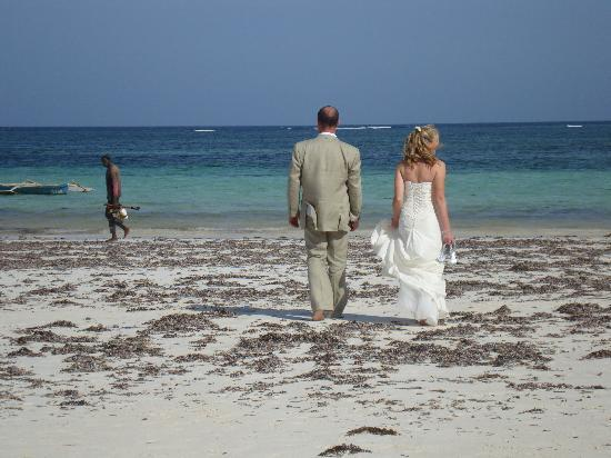 Diani Blue: Walking on the beach after our wedding