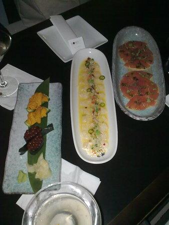 Bond St. - Miami: uni, red caviar, chef's ceviche and truffled tuna