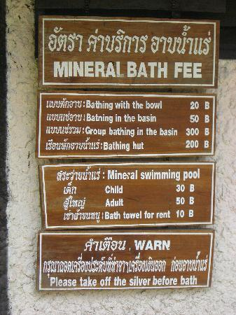 Mae On, Thailand: 温泉の種類と価格表