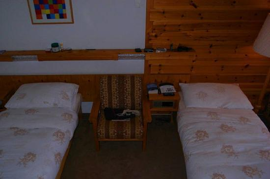 Chalet Hotel Ambassador: my bed - separated from my snoring roommate.