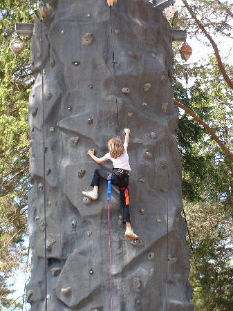 On the Pinnacle climbing Wall at LAndmark Forest Adventure Park at Carrbridge nr Aviemore