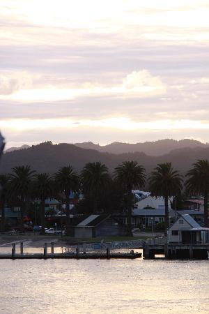Ferry Landing Lodge: Evening view of Whittianga from front yard.