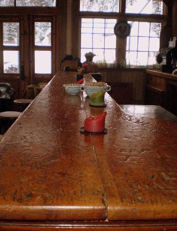 Dunton Hot Springs: The bar in the Saloon.  Ask about Butch Cassidy's signature.