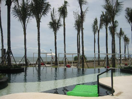 W Bali - Seminyak: the still facing upward palm tree leaves-pool area