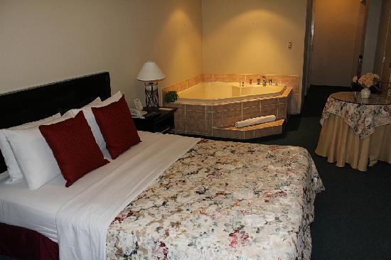 Leon de Oro Inn & Suites: Yes, that is a jacuzzi in the bedroom!