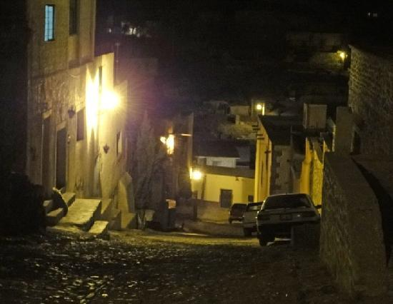 Refugio Romano: Street from Refugio Romano descends toward the town center.