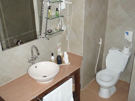 Pavillon d'Orient Boutique-Hotel: Toilet and vanity area (Twin room pool side)