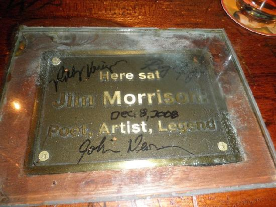 Alta Cienega Motel: Plaque at Barney's, at the bar