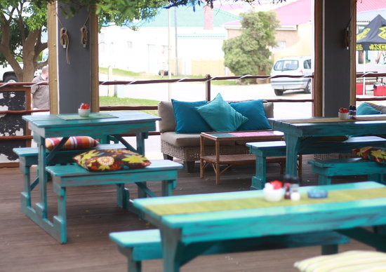 Ozone cafe bar: seating on wooden deck