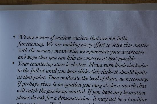 The Heritage Inn : Guest instructions. Who are the owners?