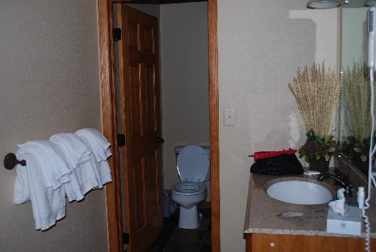 The Inn at Steamboat: Bathroom and sink outside.